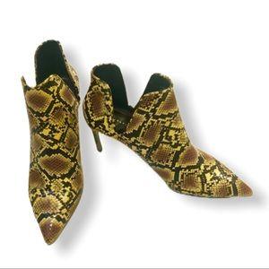 ZARA Yellow Snakeskin Print Ankle Booties …